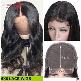 affordable lace wigs Canada - 6x6 Lace Wig Humain Hair Wigs Affordable Body Wave Wig Pre Plucked 180 Density Brazilian Remy Lace Closure Wigs 30 32 Inch