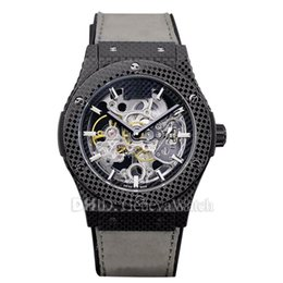 $enCountryForm.capitalKeyWord UK - Classic Flywheel 44mm Mens Designer Watches Hollow Mechanical Autoamtic Watch Black Leather Strap Wristwatches montre de luxe watch man