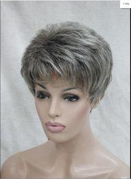 $enCountryForm.capitalKeyWord Australia - WIG hot gray grey mix brown root wavy short synthetic hair women's wig