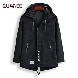 Discount camouflage clothing - QUANBO Long Casual Mens Camouflage Coat New Spring Autumn Fashion Hooded Big size Male Jacket Top Quality Brand Clothing