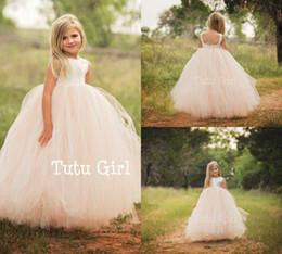 $enCountryForm.capitalKeyWord Australia - Tutu Flower Girl Dresses Jewel Neck Tulle Ball Gown Floor Length Custom Cheap Girls Pageant Dress Backless Kids Formal Gowns