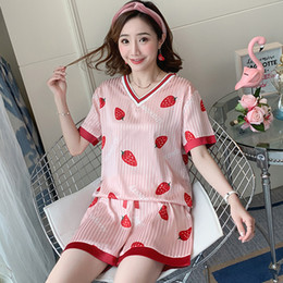 $enCountryForm.capitalKeyWord Australia - 2019 Summer Silk Pajamas Set for Women Home Clothes cute pink Strawberry Print V Neck Short Pant pajamas Sexy famale Sleepwear