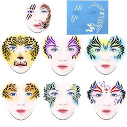 $enCountryForm.capitalKeyWord Australia - 7pcs set Face Paint Stencil Reusable Eye Template Different DIY Design Painting For Halloween Christmas Tattoo Makeup Tool