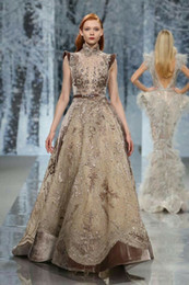 Kardashian Evening Gowns Australia - Evening dress Ziadnakad Off shoulder High neck Ball gown Brown Zuhair murad 2018 Yousef aljasm Kim kardashian Kylie Jenner 028