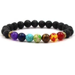 $enCountryForm.capitalKeyWord Australia - Chakra Bracelet Men Black Lava Healing Balance Beads Reiki Buddha Prayer Natural Stone Yoga Bracelet For Women gift