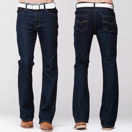 Wholesale mens boot cut pants resale online – designer GRG Mens Slim Boot Cut Jeans Classic Stretch Denim Slightly Flare Dark Blue Pants Fashion Stretch Trousers