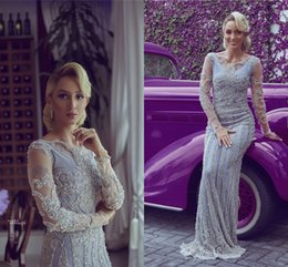 Plus size evening gown images online shopping - 2019 Luxury Lilac Beaded Mermiad Evening Dresses Eleagnt Sheer Plus Size Long Sleeves Prom Dress Long Formal Party Pageant Gown