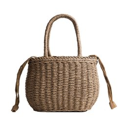 Wholesale good quality Handmade Round Straw Bucket Bag Beach Vacation Handbags Hand woven Summer Pure Woven Bag For Women Boho Shopping Totes