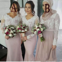 $enCountryForm.capitalKeyWord Australia - Bridesmaid Dresses 2019 For Weddings Muslim V Neck Mermaid Long Sleeves White Lace Appliques Sweep Train Plus Size Formal Maid of Honor Gown