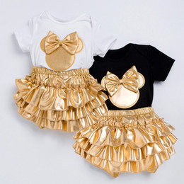 Wholesale cute black top online – design Baby Clothing Sets Rompers Girl Bow Headband Button Infant Jumpsuit Newborn Baby Tops Skirt set Bodysuits Fashion Outfits GGA3507
