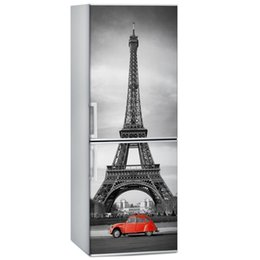 China Fridge Wrap  Pairs Eiffel Tower Red Car  Removable Self Adhesive Vinyl  Peel and Stick Decal Wallpaper cheap wallpaper 3d cars suppliers