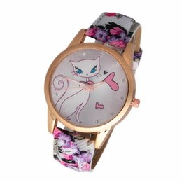 Small cartoon couple online shopping - 2018 popular cute cartoon kitten small fresh belt couple hipster fashion color watch