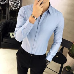 Hot Office Shirts Australia - 2019 hot sale Men's Long-sleeve Oxford Dress Shirts Slim-fit Solid Color Male Business Casual Korean Version Office Wear in Men's Shirt