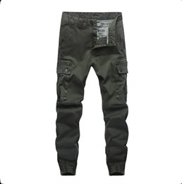 blue cargo trousers Australia - 2020 New Fashion Pants Men Trousers Jogger Zipper Green Blue Cargo Pants Joggers Plus Size 30-40