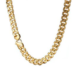 $enCountryForm.capitalKeyWord Australia - Granny Chic 15mm 24'' Fashion Men's Jewelry Gold Stainless Steel Gold Miami Cuban Link Necklace Chain