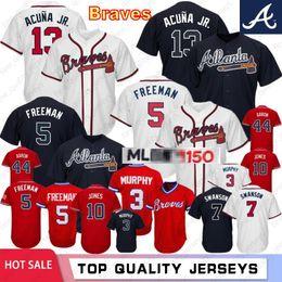 d096ae95 13 Ronald Acuna Jr. 10 Atlanta Chipper Jones Braves 150º aniversário 44  Hank Aaron 5 Freddie Freeman 3 Jerseys de Baseball Murphy