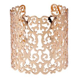 Hollow flower cuff online shopping - Punk Cuff Bracelets for Women Large Bracelet Wide Bracelet Jewelry Fashion Statement Hollow Flower Charms Bracelets