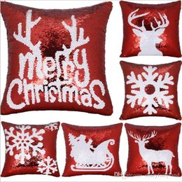 sequin cushions covers NZ - Cushion Cover Reversible Shining Christmas Deer Snowflake Sequins Throw Pillow Case Cover for Seat Car 40x40cm Christmas Gift Xmas Gifts