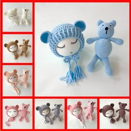 Toddler baby games online shopping - 2018 New Knit Beanie Cap Bear Toy Newborn Baby Toddler infant Bear Photo Prop Photography Baby Knitted Cap C