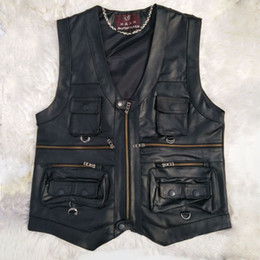 motorcycle jacket vest NZ - Multi Pocket Vest Men Black Photography Vests Genuine Leather Motorcycle Biker Waistcoat Male Autumn Winter Sleeveless Jacket