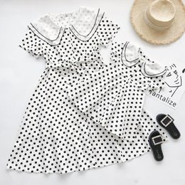 $enCountryForm.capitalKeyWord NZ - Mother daughter dresses girls polka dots short sleeve dress children double falbala lapel Bows belt princess dress baby girl clothes