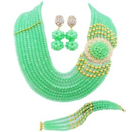 $enCountryForm.capitalKeyWord Australia - Lovely Mint Green African Wedding Beads Nigerian Necklace Jewelry Set Crystal Bridal Party Jewelry Sets for Women 10DPH06