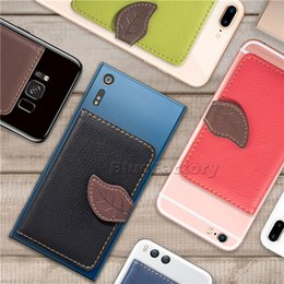 $enCountryForm.capitalKeyWord Australia - Universal Back Phone Card Slot 3M Sticker Leather Phone Stick On Wallet Cash ID Credit Card Holder For iPhone XR X Samsung Huawei Leaf Case