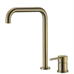 ceramic hot plate UK - Brass hot and cold bathroom super long pipe two holes Brush gold faucet bathroom faucet sink tap 360 rotating widespread basin