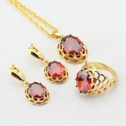 $enCountryForm.capitalKeyWord Australia - WPAITKYS Red Created Garnet CZ Gold Color Wedding Jewelry Sets For Women Drop Earrings Necklace Pendant Rings Free Gift Box