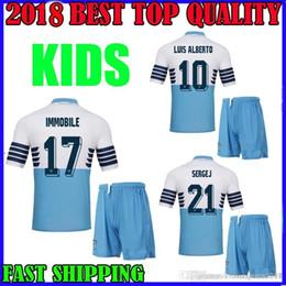 e379d8116 2018 2019 Lazio kids kit soccer Jersey 18 19 Europa League Home IMMOBILE  LUCAS SERGEJ BASTOS LUIS ALBERTO SERGEJ MARUSIC boy Football shirts
