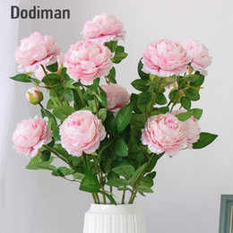 $enCountryForm.capitalKeyWord NZ - 66cm Long European Artificial 3 Head Home Silk Peony Wedding Foreign Rose Decorative Flower Party Decor 1pcs C19041701