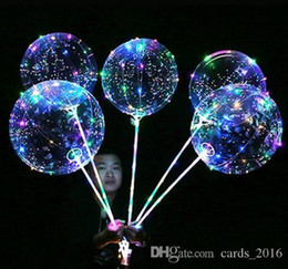 Discount clear transparent balloons Luminous LED Balloon Transparent Clear BoBo Balloon 18 inch Light Colorful Wave Helium Ball for Birthday Wedding Christm