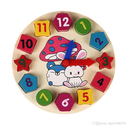 Toy Digital NZ - Wooden 12 Number Clock Toy Baby Colorful Puzzle Digital Geometry Clock Educational Clock Toy High Quality for Kids Children Gift