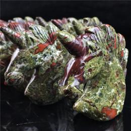 $enCountryForm.capitalKeyWord NZ - 2 inches Wholesale Natural Dragon Blood Stone Quartz Crystal Animal Carved Gemstone Crystal Unicorn For Souvenir Gift