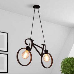 $enCountryForm.capitalKeyWord Australia - Vintage Iron Bicycle Shape Creative Pendant Lamp E27 Lamp Holder 110-240V Foyer Coffee House Dining Hall pendant lights