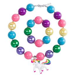 kids cartoon necklaces 2019 - Hot Sell Girls cartoon animal Acrylic beaded necklace 2pc set 40cm bead necklace unicorn pendants+bracelet kids arylic j
