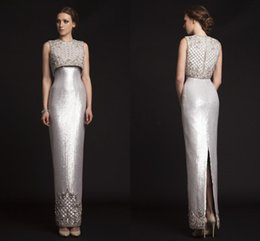 krikor jabotian red carpet dresses UK - 2018 New Luxury Krikor Jabotian Evening Dresses Sequins Beading Satin Sheath Custom Made Silver Prom Dresses Split Back Formal Gowns