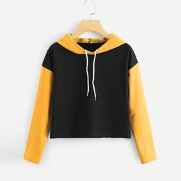 wholesale cropped sweatshirts 2019 - Harajuku Sweatshirt Hoodies Autumn 2018 Women Streetwear Color Block Hoodie Cropped Tumblr Woman Clothes Moletom Feminin