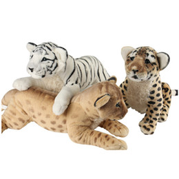 plastic lions NZ - 40-60cm 4 Styles Soft Stuffed Animals Lying Tiger Plush Toys Pillow Lion Peluche Kawaii Leopard Doll Girl Toys For Children SH190913