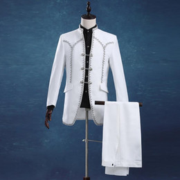 $enCountryForm.capitalKeyWord Australia - Men Slim Casual White Groom Married Wedding Suits Set Passionate Male Singer Host Evening Party Clothing Stage Wear Dress dsy127
