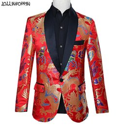 $enCountryForm.capitalKeyWord Australia - Traditional Chinese Style Mens Wedding Suit Jacket Shawl Collar Colorful Dragon Printed Single Button Red Suit Jackets