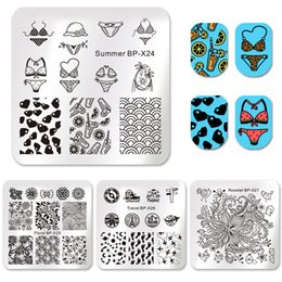 Airplane Art Australia - stamp plate BORN PRETTY Square Stamping Template Summer Bikini Flower Floral Travel Airplane Leaf Star Butterfly Image Nail Art Stamp Plates