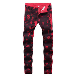 2019 Men's Fashion Skeleton Skull Printed Night Club Personality Jeans Male Slim Fit Red Denim Pants Long Trousers,9001