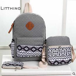 $enCountryForm.capitalKeyWord NZ - Litthing Dot Printing 3 Pcs Canvas Backpack Set Preppy Women School Backpacks Schoolbag For Teenagers Student Book Bag Bagpack J190620