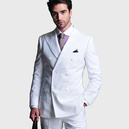 Wholesale royal blue coat white pant resale online - White Men Suits for Wedding Man Suits Blazers Piece Coat Pants Groom Tuxedos Double Breasted Slim Fit Terno Masculino Costume Homme