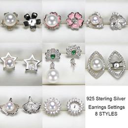 3ff5563310aa S925 Aretes de Plata Esterlina Ajustes de Joyería de Moda DIY Pendientes de  Perlas Ajuste Pendientes de Perlas para Mujeres En Blanco DIY Regalo de boda