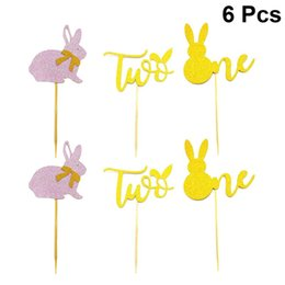 number cakes cupcakes 2020 - 2020 New 6pcs Easter Cake Toppers Number Design Cupcake Ornament Picks Cake Decor Dessert Adornment for Party Festival c