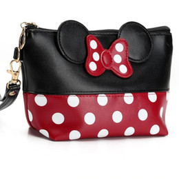 Discount hand make women handbags Travel Cosmetic Bag Cartoon Bow Makeup Case Women Zipper Hand Holding Make Up Handbag Organizer Storage Pouch Toiletry W