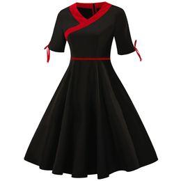 8855063309 Clothing Women s Dresses Short Sleeve Knee Length Chinese Style Big Sizes Ladies  Dresses Sexy Elegant Patchwork Dress 4XL