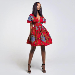 Wholesale bazin african dress for sale - Group buy Multiple Wear African Dresses for Women Shoulder Off Backless Floral Print Dress Bazin Vestidos Dashiki Party Africa CLothes